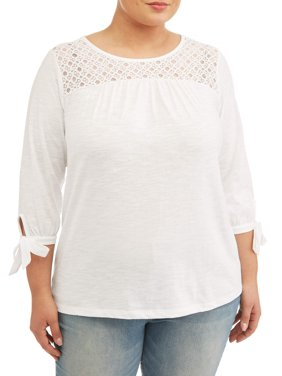 9c237a7dab80f Product Image Women's Plus Size Lace Yoke Peasant Top