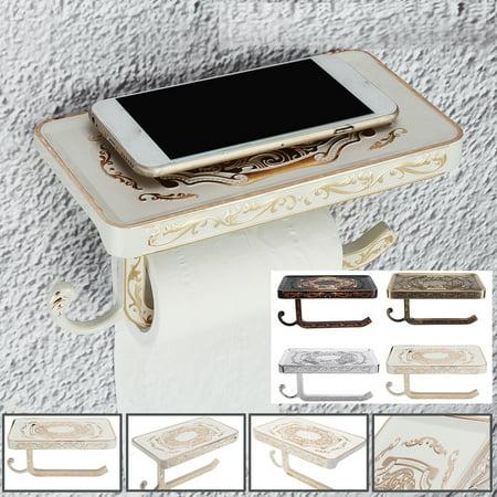 Vintage Retro Wall Mount Paper Towel Holder Tissue Hook Rack & Phone Holder Shelf for Bathroom Bedroom