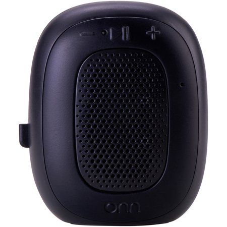 - ONN Mini Bluetooth Speaker, Rich Black, Built-In Speakerphone & Hanging Strip
