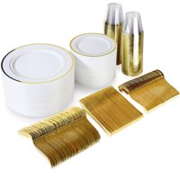 600 Piece Gold Plastic Dinnerware Set Including Plates, Cutlery and Cups