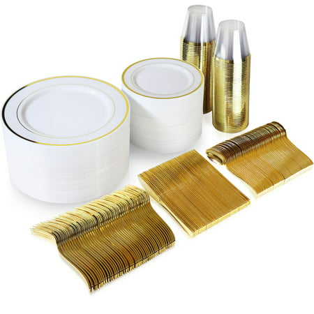 Plates And Cups (600 Piece Gold Plastic Dinnerware Set Including Plates, Cutlery and)