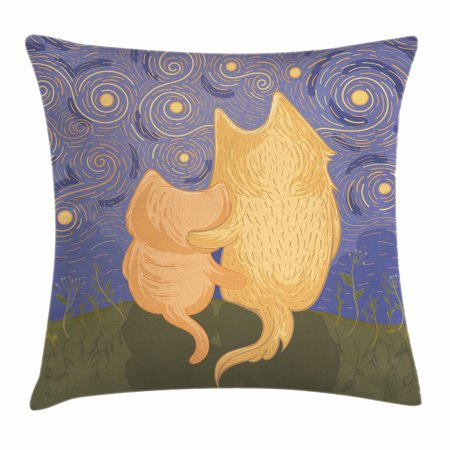 Animal Throw Pillow Cushion Cover, Cat and Dog Friends Sitting on a Hill Enjoying Starry Night Cartoon Illustration, Decorative Square Accent Pillow Case, 18 X 18 Inches, Multicolor, by (Best The Starry Night Friend Jewelry Foods)