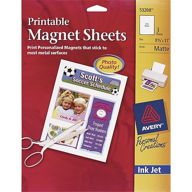 graphic about Printable Magnetic Paper identified as Avery Printable Magnet Sheet Matte 8.5x11 Matte 3 Pk