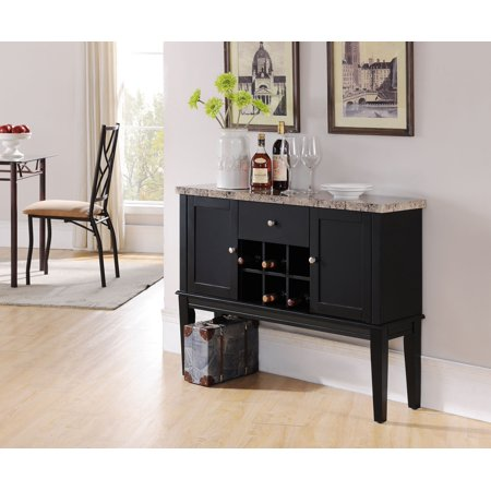Black Wood Storage - Everett Black & Marble Wood Contemporary Wine Rack Buffet Display Console Table With Storage Drawer & Cabinet Doors
