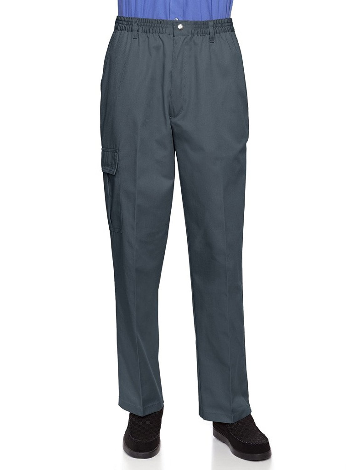 AKA Wrinkle Free Men's Full Elastic Waist Twill Casual Pant Grey Small