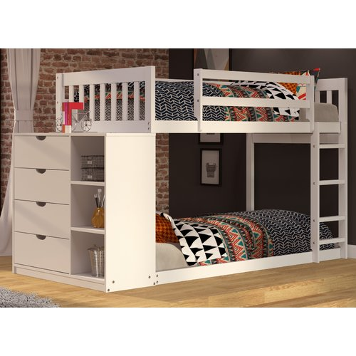 Donco Kids Mission Twin Over Twin Bunk Bed with Chest and Storage by