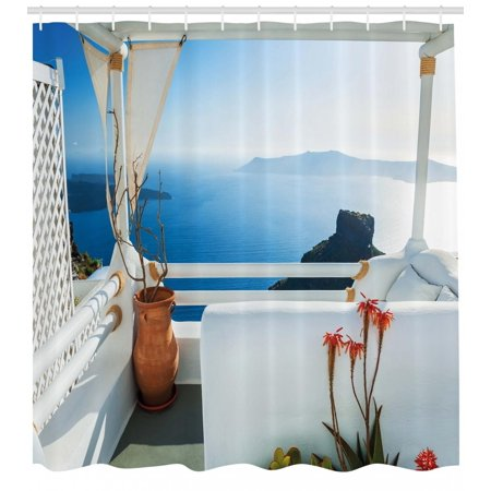 European Shower Curtain Holiday Terrace With Sea At Sunset Architecture On Santorini Island Greece Fabric Bathroom Set Hooks Turquoise And Blue