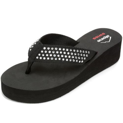 Alpine Swiss Womens Wedge Sandals Rhinestone Flip Flop High Heel Platform Thongs Silver Size 8