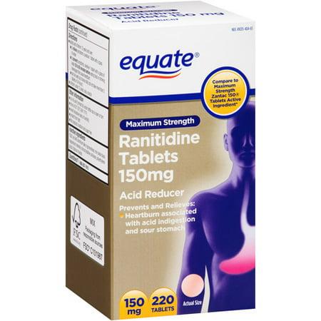 Equate Maximum Strength Acid Reducer Ranitidine Tablets, 150