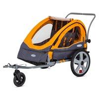 InStep Sierra Double Bicycle Trailer, 20 inch wheels, folding frame, orange