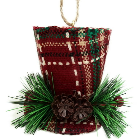 holiday time christmas ornaments 4 piece plaid top hat ornament - Top Hat Christmas Decorations