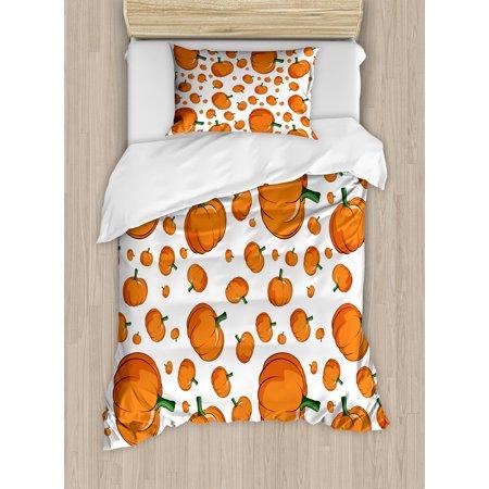 harvest twin size duvet cover set halloween inspired pattern vivid cartoon style plump pumpkins vegetable