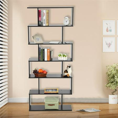 Walfront Mainstays Home 6-Tier Corner Bookshelf Solid Wood Bookshelves Bookcase Storage Shelves Storage Cube Closet Organizer Shelf Rack, Black ()
