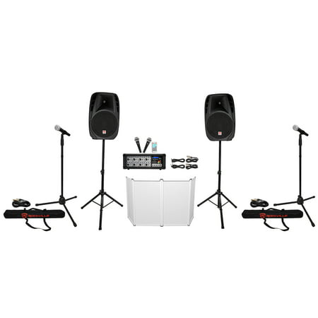 rockville rpg2x15 pa system mixer amp 15 speakers stands mics bluetooth facade. Black Bedroom Furniture Sets. Home Design Ideas