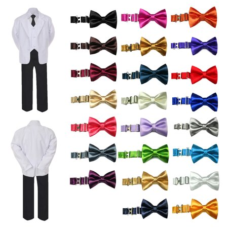 b2e73f30d3f5 UNOTUX - 6pc Boy Formal Necktie Black & White Suit Set Satin Bow tie Baby  Sm-20 Teen - Walmart.com