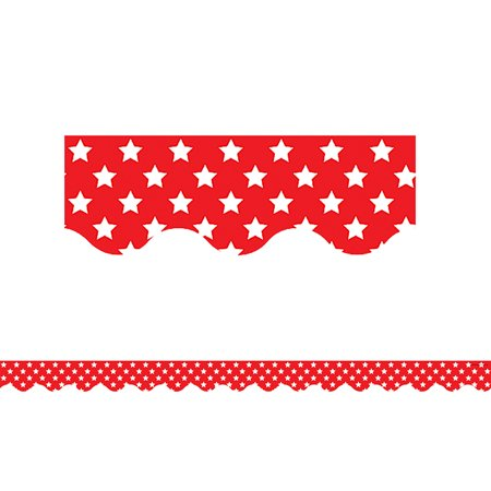- RED WITH WHITE STARS SCALLOPED BORDER TRIM