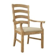 Emerald Home Bel Air Brown Dining Arm Chair with Upholstered Seat, Ladder Back, And Curved Arms, Set of Two