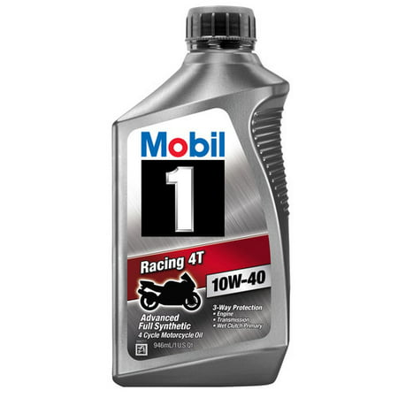 (6 Pack) Mobil 1 10W-40 Full Synthetic Motorcycle Oil, 1