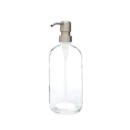 RAIL19  Market Glass Soap Dispenser w/ Farmhouse Stainless Pump Brass Glass Soap Dispenser