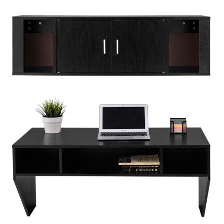 Black Computer Hutch (GHP Home/Office Durable & Sturdy Black Wall Mounted Computer Desk and Hutch Set )