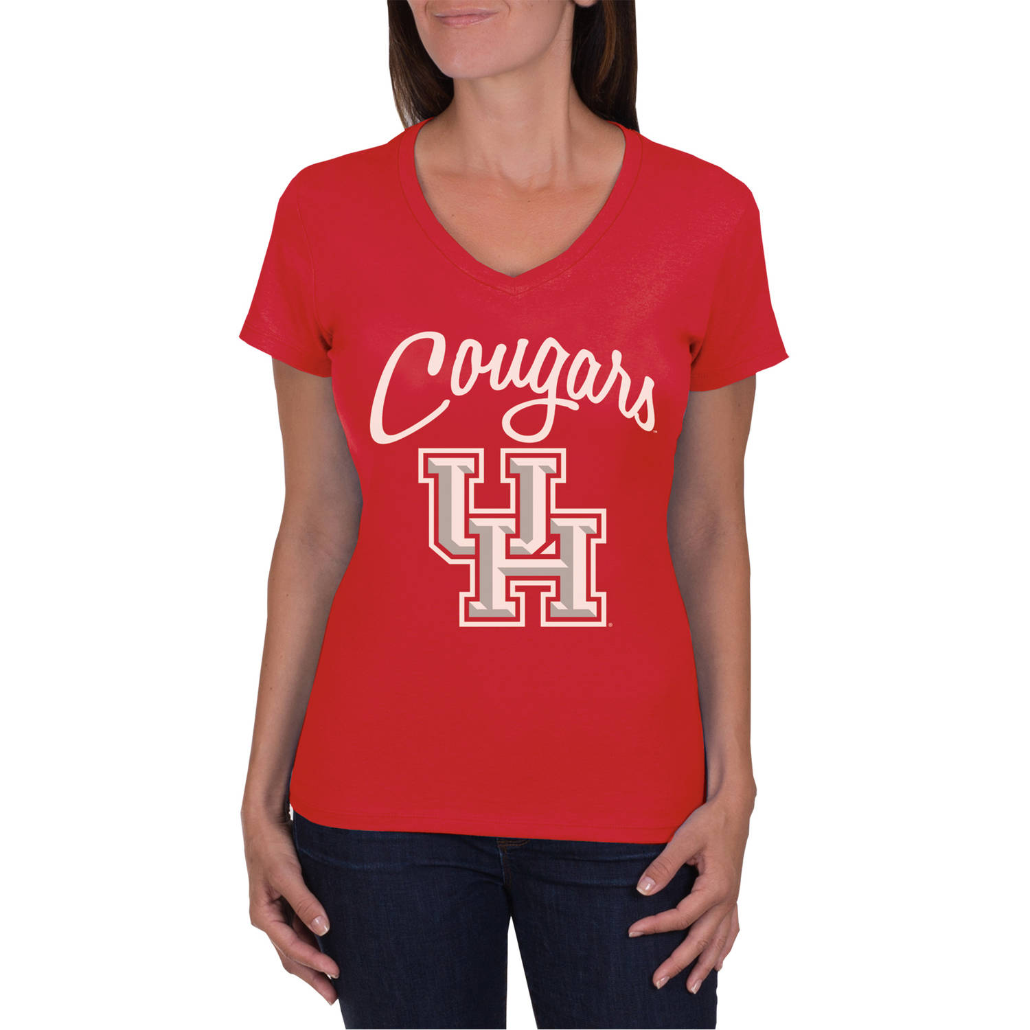 NCAA Houston Cougars Women's V-Neck Tunic Cotton Tee Shirt