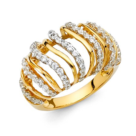 Solid 14k Yellow Gold Cocktail Ring CZ Right Hand Band Big Dome Style Tapered Open Design