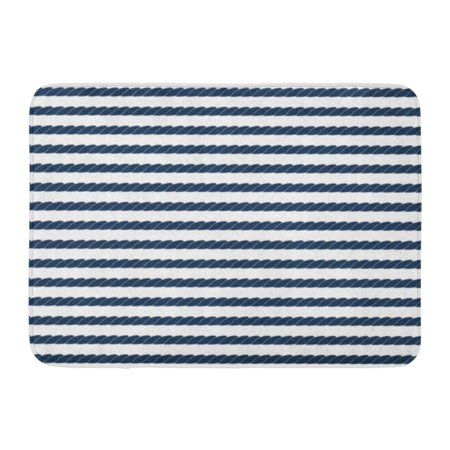 Navy Block - GODPOK Sea Black Nautic Navy Rope Striped in Blue and White Stripe Ship Rug Doormat Bath Mat 23.6x15.7 inch