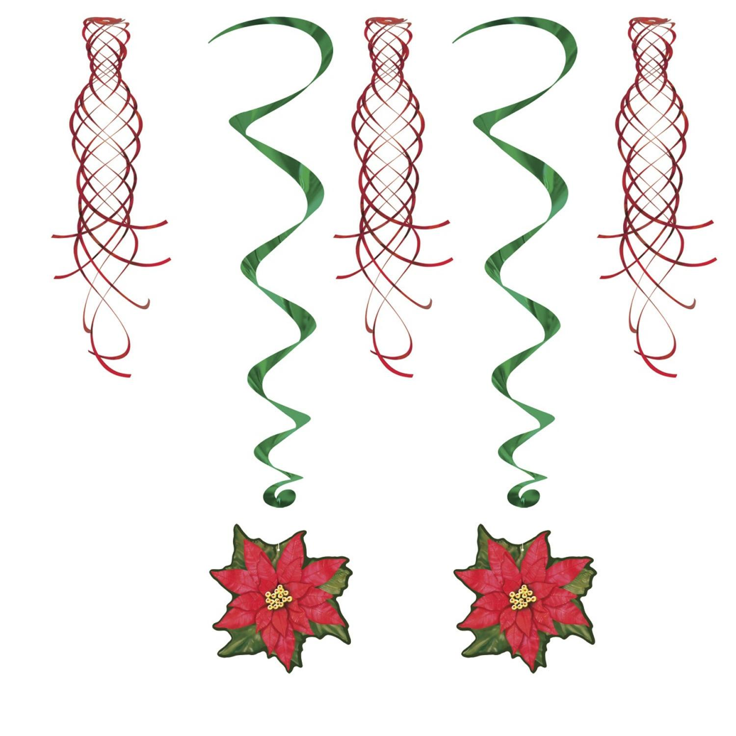 """Club Pack of 30 Winter Wonderland Themed Poinsettia and Shimmer Whirls Hanging Decorations 40"""""""