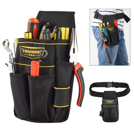 Portable Electrician Waist Multiple Pocket Tool Maintenance Screwdriver Drill Belt Pouch Bag with Adjustable Waist Strap