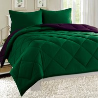 Dayton Queen Size 3-Piece Reversible Comforter Set Soft Brushed Microfiber Quilted Bed Cover Hunter Green & Plum Purple