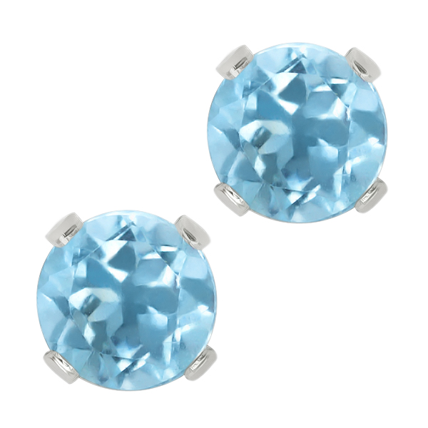 1.10 Ct Aquamarine Sterling Silver 5.00MM Stud Earrings