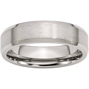 Stainless Steel Flat Beveled Edge 6mm Brushed and Polished Band, Available in Multiple Sizes