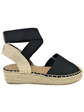 6ee5a12cc82 Product Image Tamy Women s Espadrilles Elastic Strap Bands Platform Cap Toe  Gladiator Sandals Black