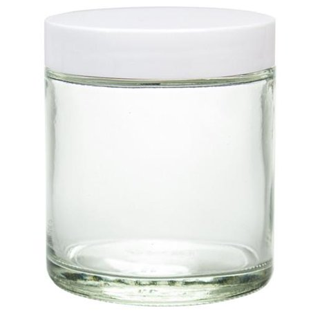 Clear Thick Glass Straight Sided Jar with White Smooth Lids - 4 oz / 120 ml (12 pack) + Spatulas and Labels