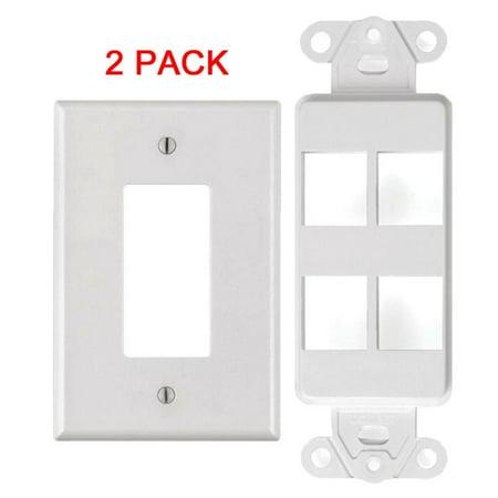 - White 4 Port Decora Keystone Snap-in Jack Modular Wall Insert Cover Plate (2/pk)