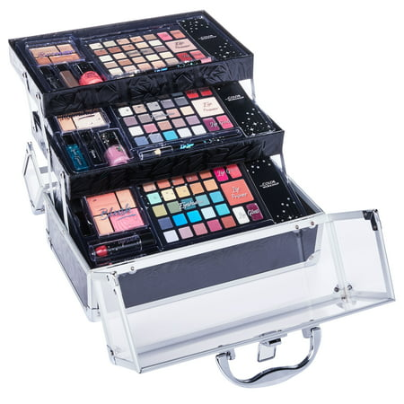 ($40 Value) The Color Workshop Ultimate 116-Piece Train Case Makeup Gift Set, Black