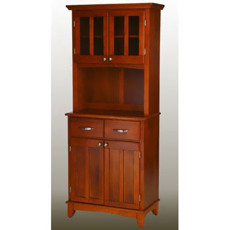 Home Styles Cottage Oak Buffet with Cottage Oak Top and 2-Glass Door Hutch Cabinet Oak Veneer Buffet China