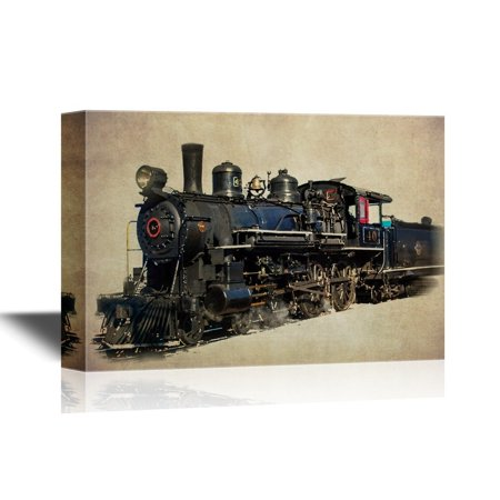 wall26 - Tank Engine Canvas Wall Art - Vintage Train on Abstract Background - Gallery Wrap Modern Home Decor | Ready to Hang - 24x36 inches](Train Decor)