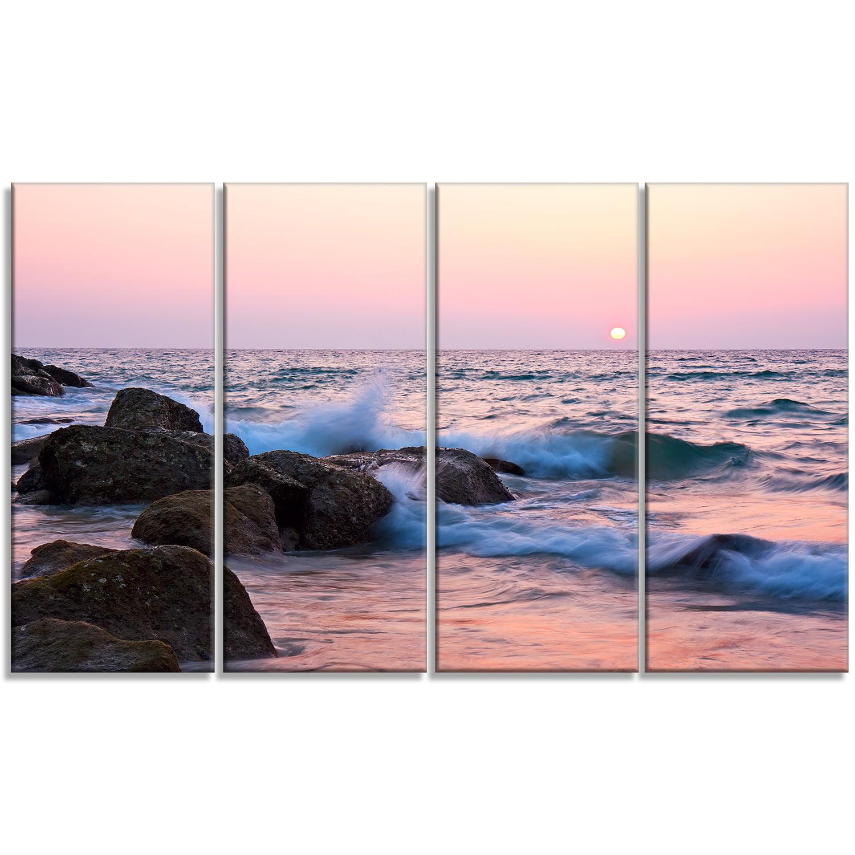 Rocky Coast with Foam Waves - Large Seashore Canvas Print - image 1 de 3