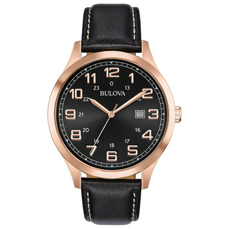Bulova Caravelle Dress Watch (Bulova Men's Rose-Gold Case Dress Watch with Leather Strap )
