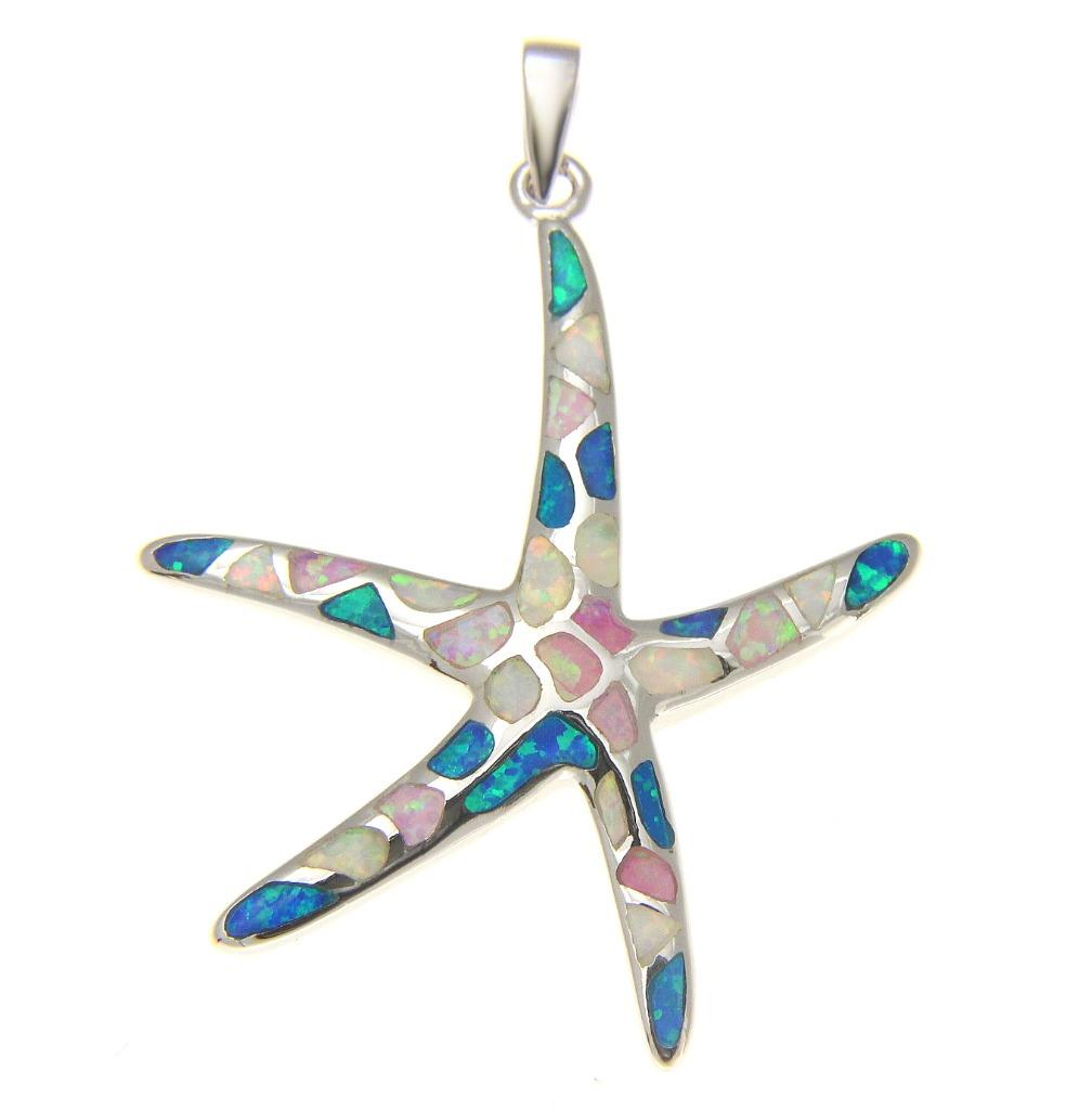 925 Silver rhodium Hawaiian starfish sea star multi blue white pink opal pendant 36mm by
