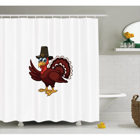 Turkey Shower Curtain Comic Character With Cockel Hat Greeting A Smile Symbol Of The