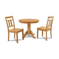M&D Furniture BRWE3-OAK-W Brookline 3 piece small kitchen table and chairs set in Oak finish