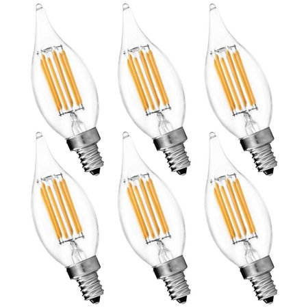 6 Pack Candelabra Led E12 Bulb Luxrite 6w Flame 2700k Warm White 650 Lumens 60w Candle Base Ul Listed