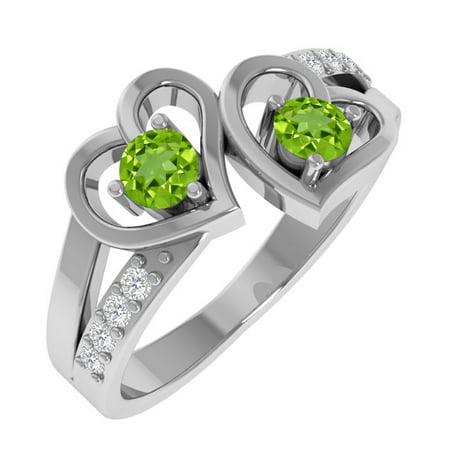 Sterling Silver Peridot Birthstone and Topaz Heart Shaped (Pear Shaped Peridot Ring)