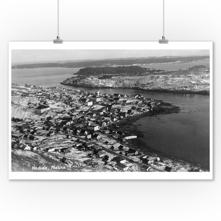 Alaska Aerial Photo - Kodiak, Alaska - Aerial View of Town Photograph (9x12 Art Print, Wall Decor Travel Poster)