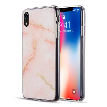 74c5911759 Luxmo Case for Apple iPhone Xr Shiny Orange Marble Design Clear Bumper  Matte TPU Soft Rubber