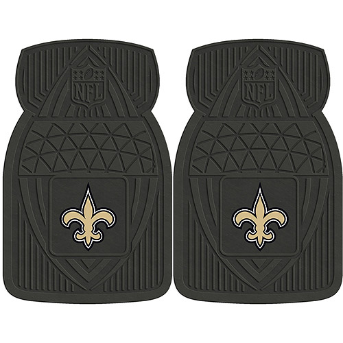 NFL 2-Piece Heavy-Duty Vinyl Car Mat Set, New Orleans Saints - SPORTS LICENSING SOLUTIONS
