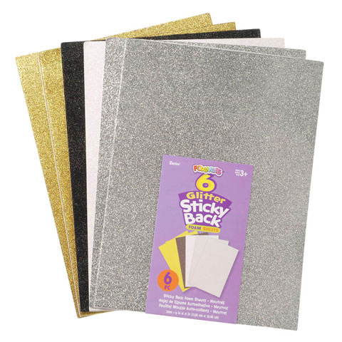 Foamies Glitter Sticker Sheet Neutral 9X12 6Pc
