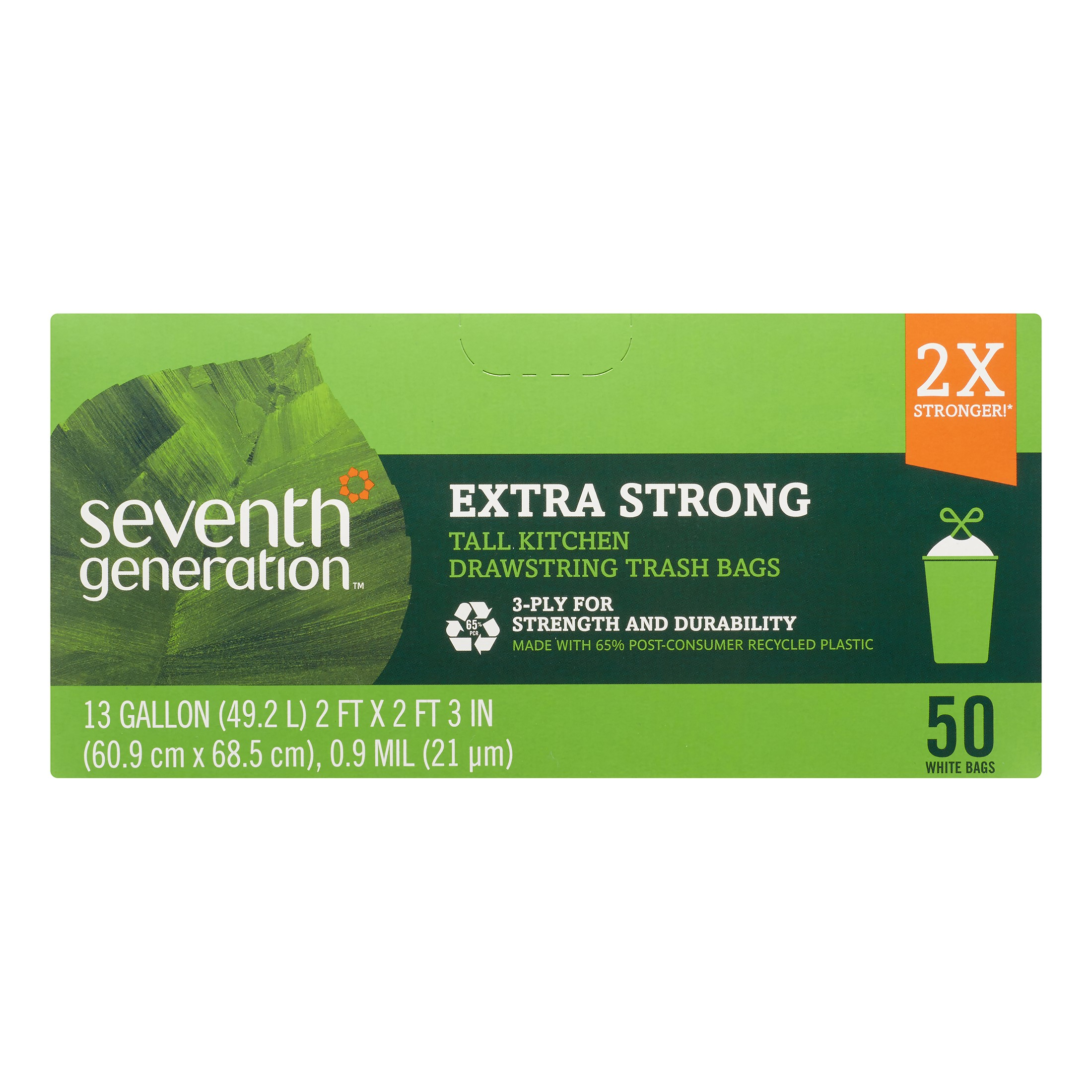 Seventh Generation Extra Strong Tall Kitchen Drawstring Trash Bags 13 Gallon 50 count